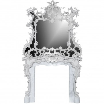 18th century Rococo style Chimney piece and overmantel mirror