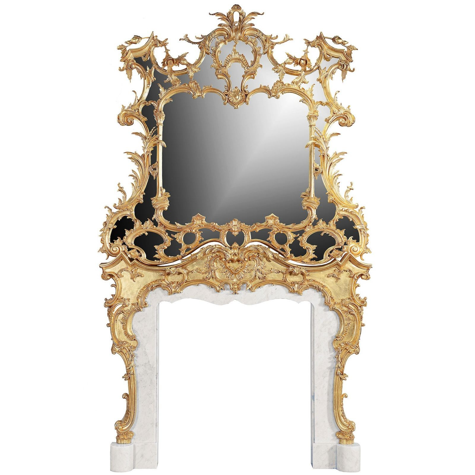 18th century Rococo style giltwood Chimney piece and overmantel mirror