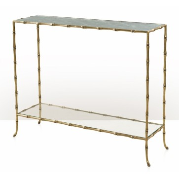 A bamboo cast brass console table