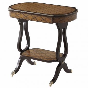 A bees-wing satinwood and Morado banded accent table