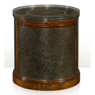A brass engraved panel cylinder lamp table