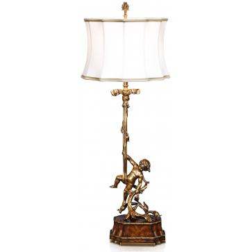 A brass table lamp