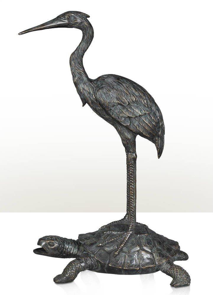 Large Standing Cranes Stencil: A Chinoiserie Verdigris Brass Statue Of A Crane, Free