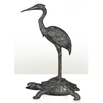A Chinoiserie verdigris brass statue of a crane