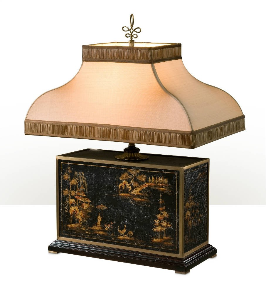 A Chocolate Chinoiserie hand painted table lamp