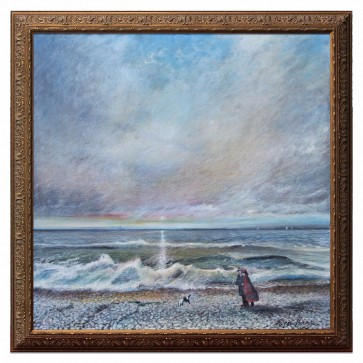 A couple walking their dog at sunrise, original framed oil painting