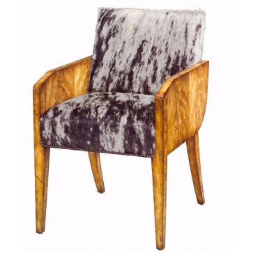 A cracked rustic honey flame mahogany occasional chair