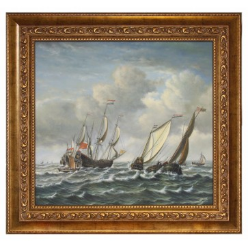 A Dutch Ship, a Yacht and Smaller Vessels in a Breeze oil painting