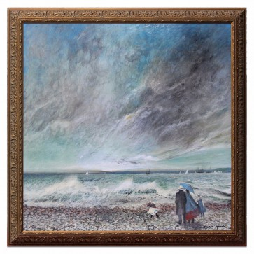 A family walk by crashing waves, original artwork