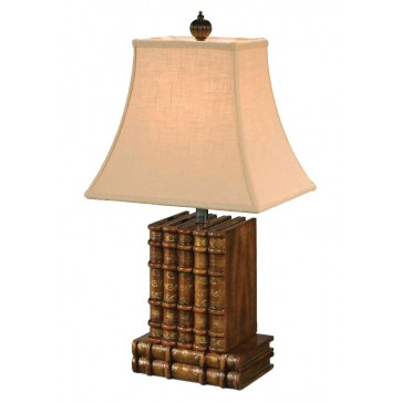 A faux book carved table lamp