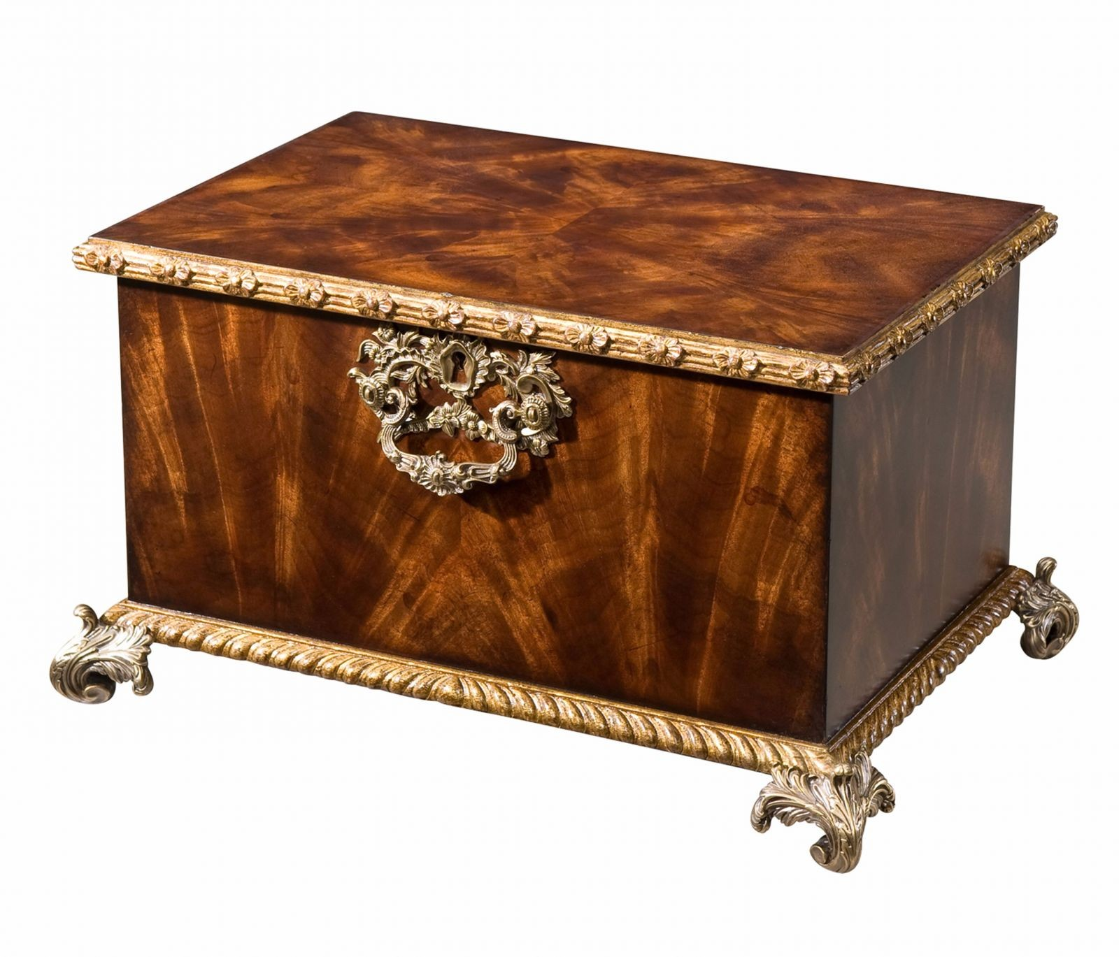 A fine flame mahogany gilt carved box table top