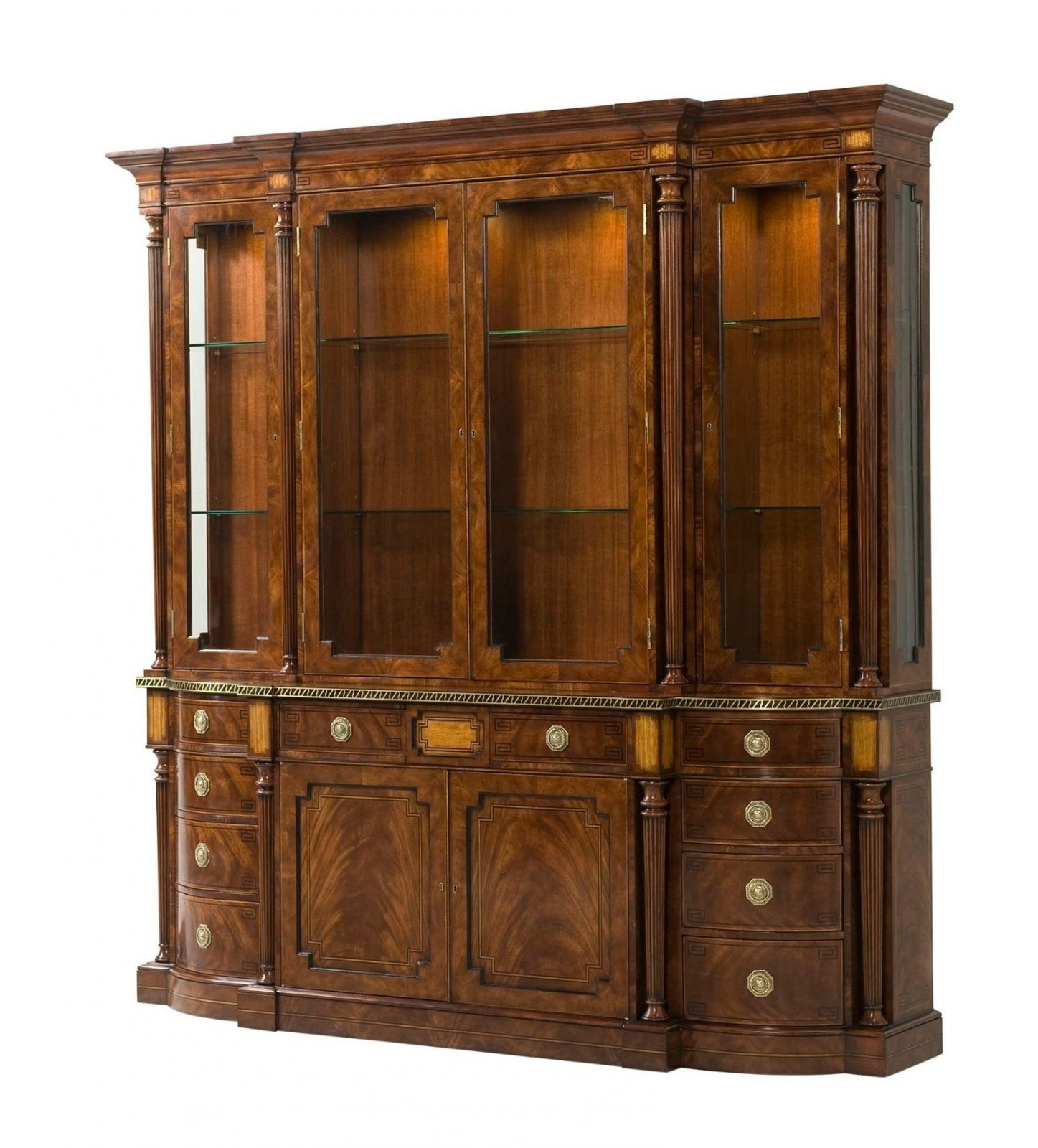 A fine mahogany veneered and yew burl banded cabinet