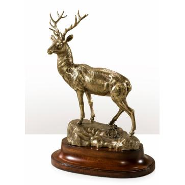 A finely cast brass model of a stag