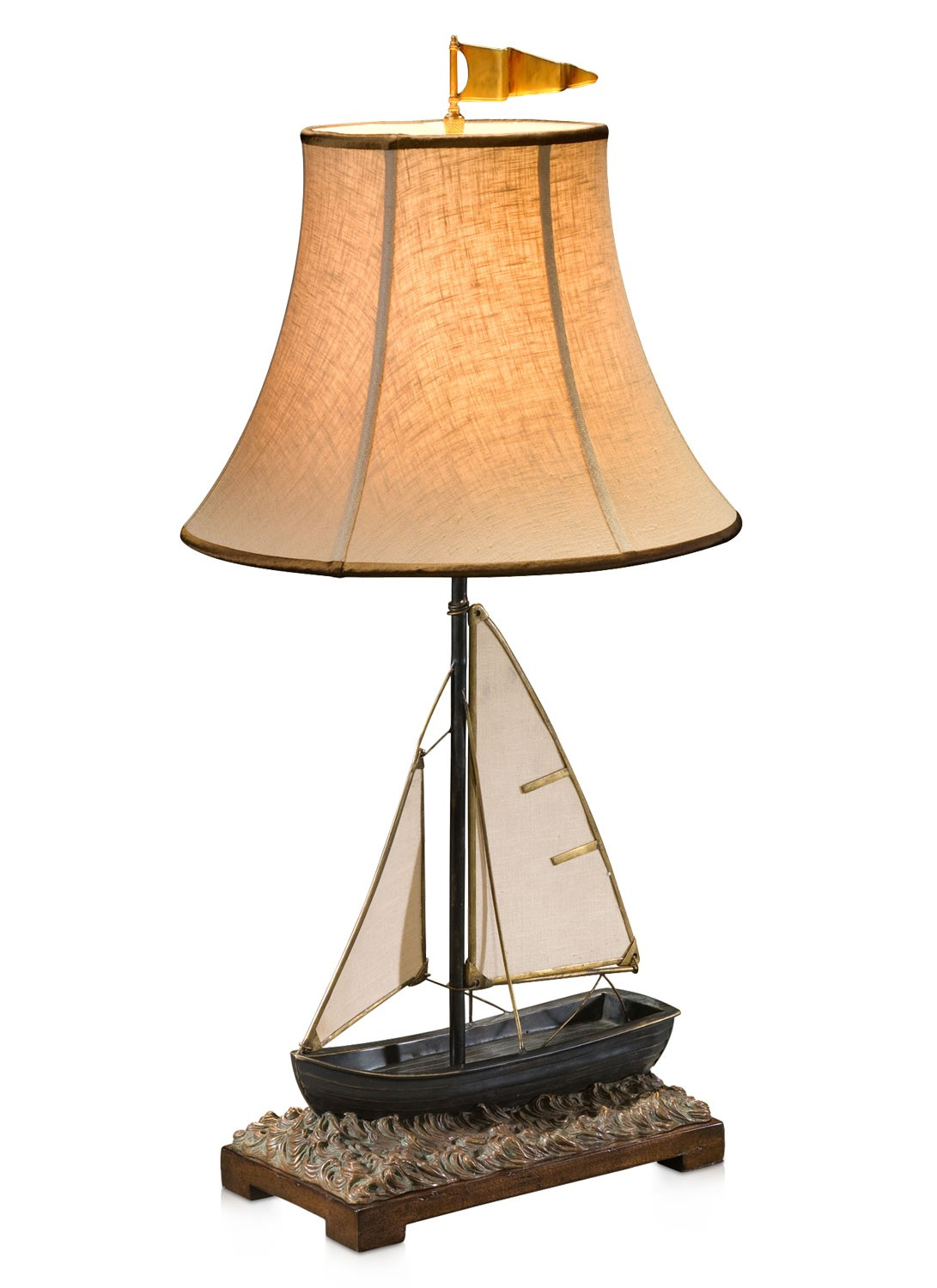 A finely cast brass Sailing boat lamp
