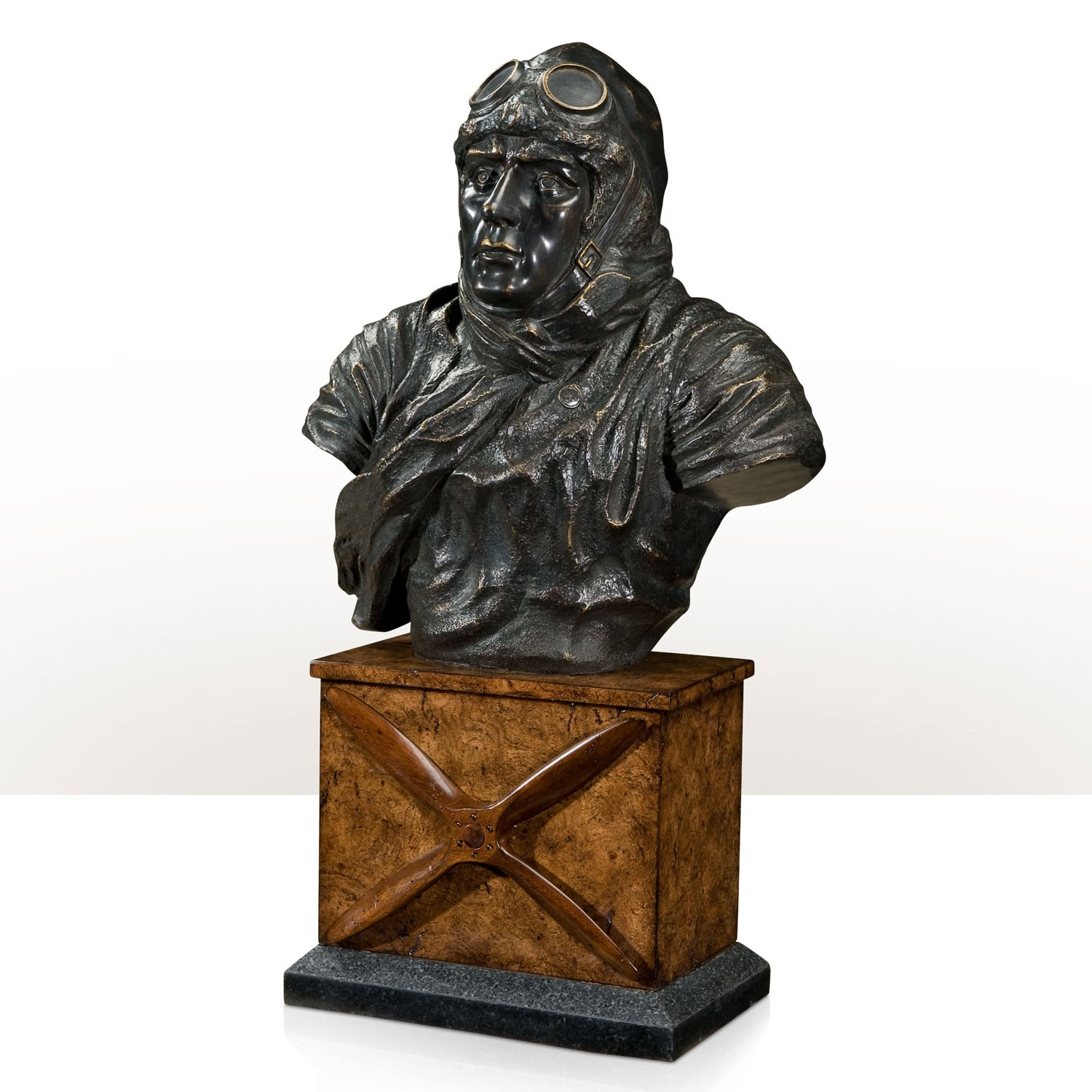 A finely cast bust of an early aviator