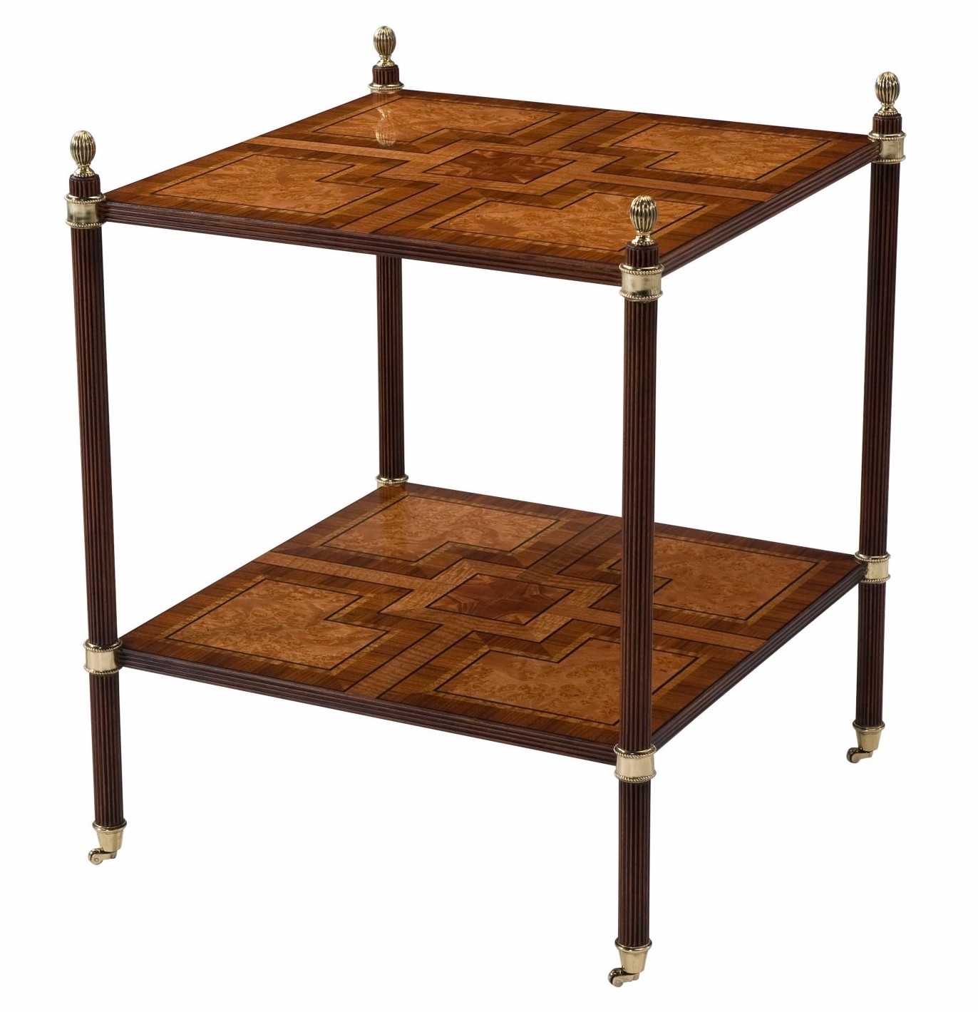 A finely parquetry veneered two tier accent table
