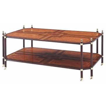A finely parquetry veneered two tiered cocktail table