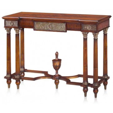 A flame mahogany inverse breakfront console table