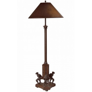 A floor lamp with three monkey supports