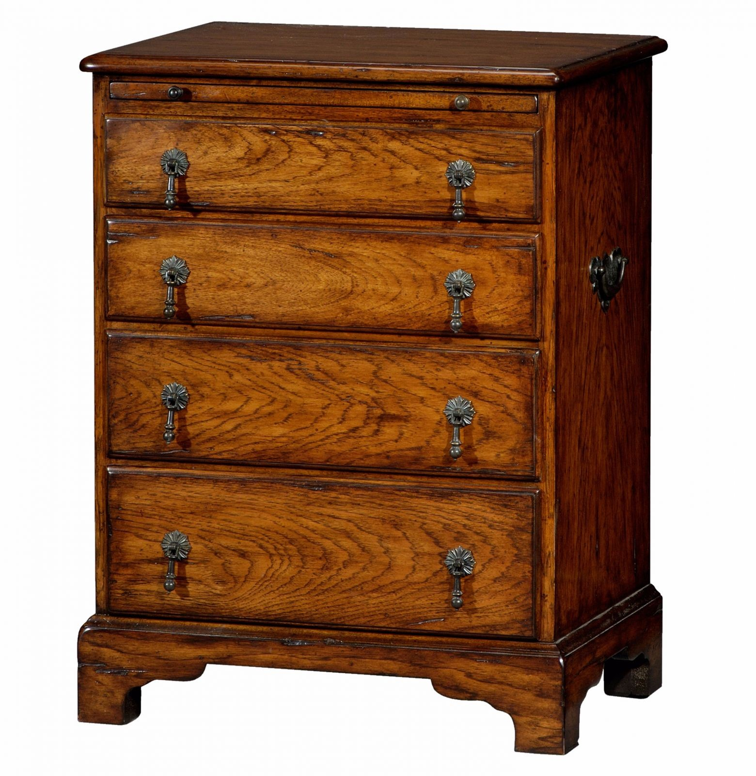 A hickory bedside chest of drawers