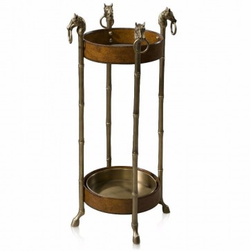 A leather and brass equestrian umbrella stand