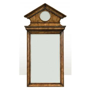A mahogany and figured anegre veneered wall mirror
