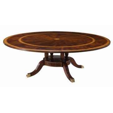A mahogany, and yew burl banded extending dining table