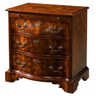 A mahogany bombe bedside chest of drawers