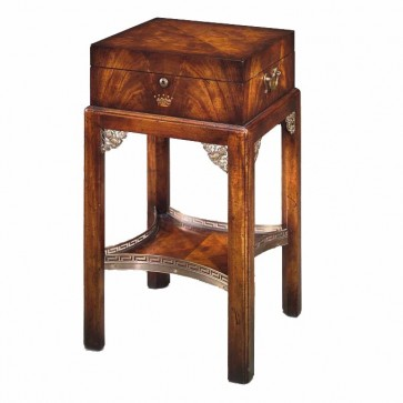 A mahogany box on stand with removable tray