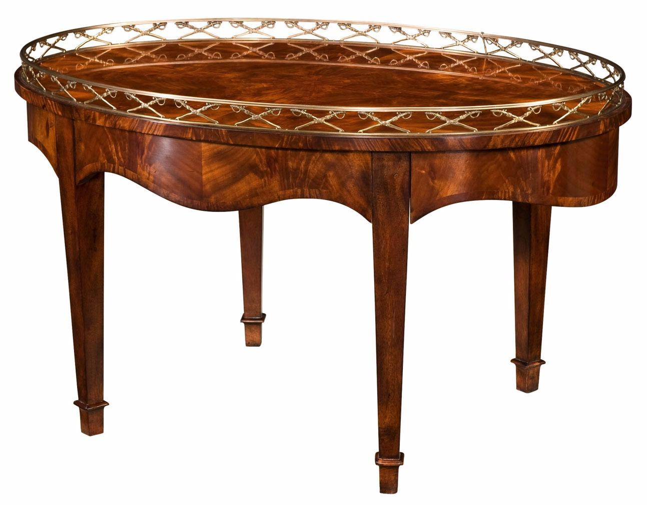 A mahogany cocktail table