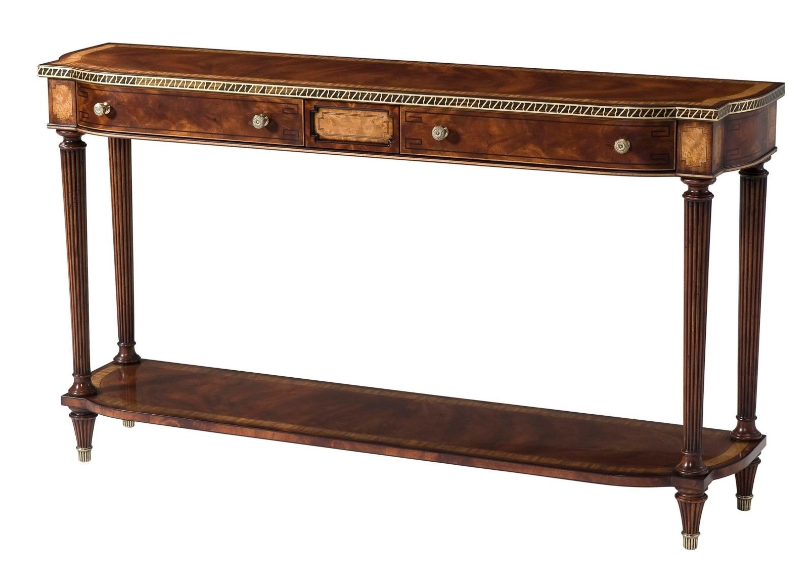A mahogany veneered console table