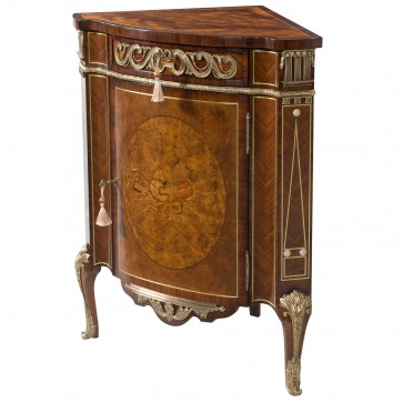 A mother of pearl inlaid corner cabinet