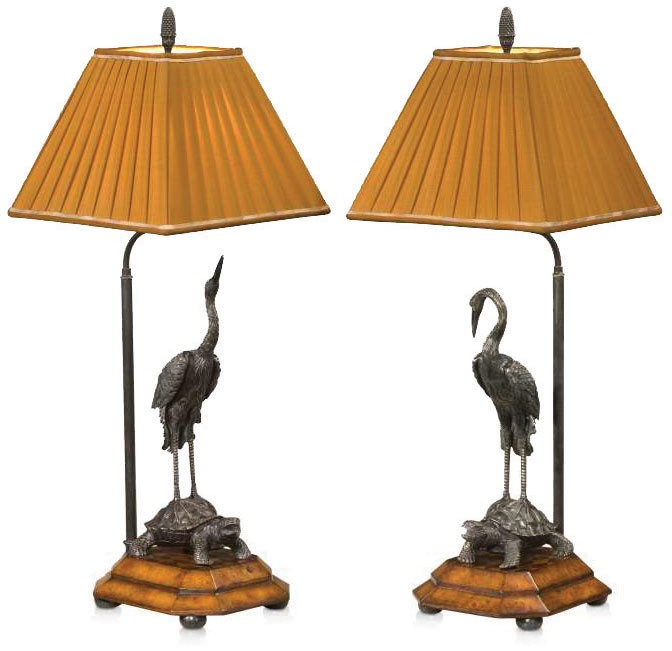 A pair of verdigris brass table lamps