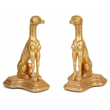 A Pair of Water Gilded lifesize dogs