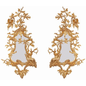 A pair of water gilded Thomas Johnson style mirrors