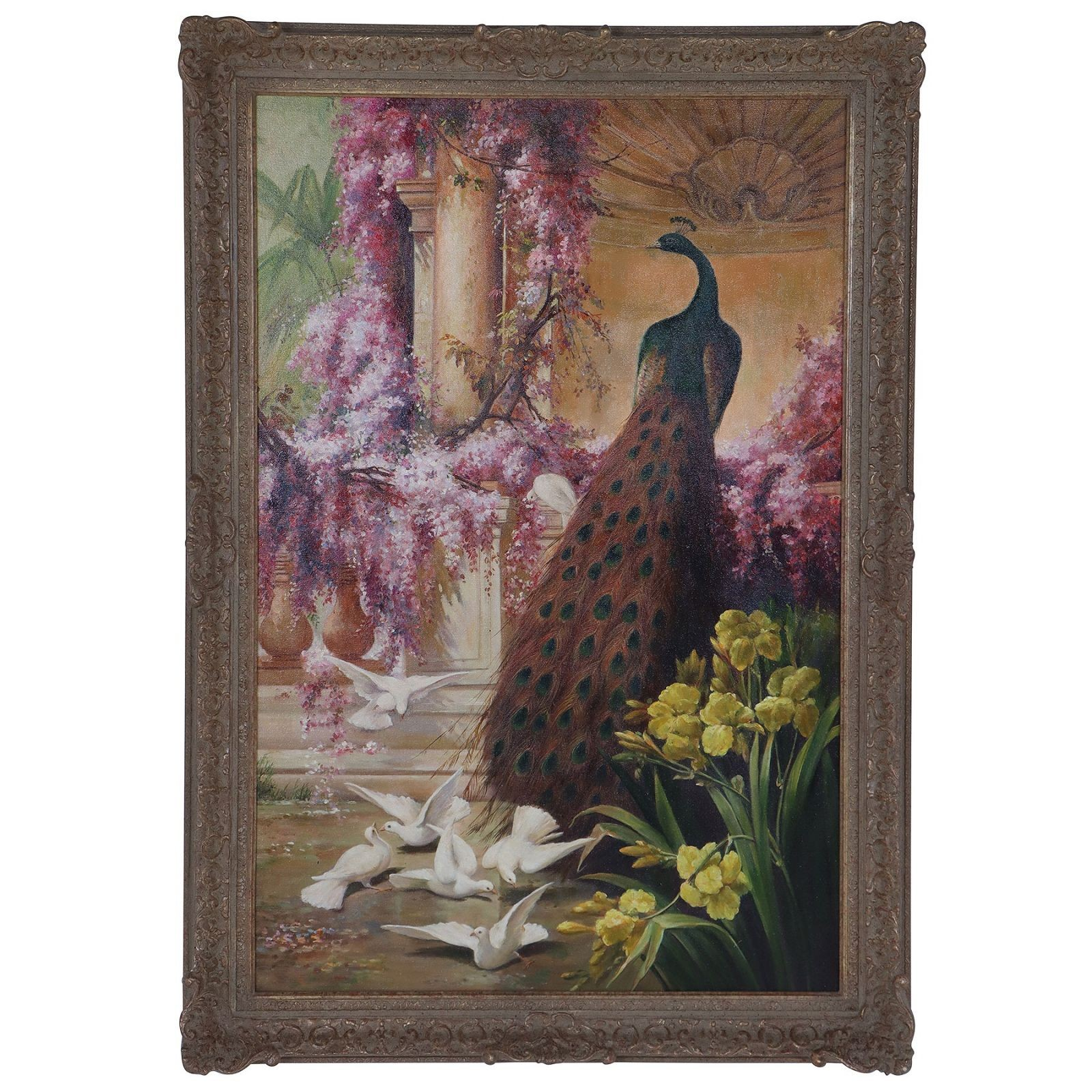 A Peacock and Doves in a Garden oil painting