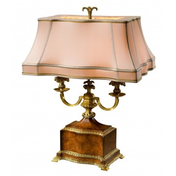 A pollard burl and finely cast brass table lamp