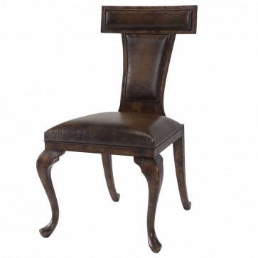 A reclaimed oak leather upholstered dining chair
