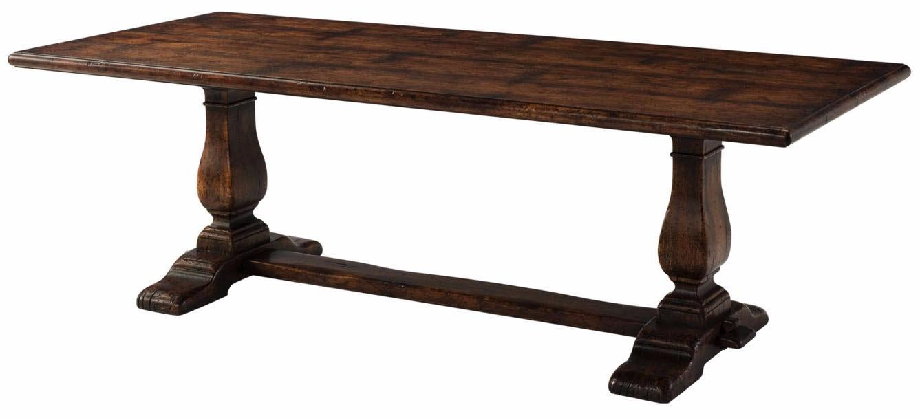 A reclaimed oak veneered refectory dining table