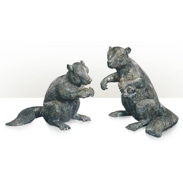 A set of two brass models of squirrel