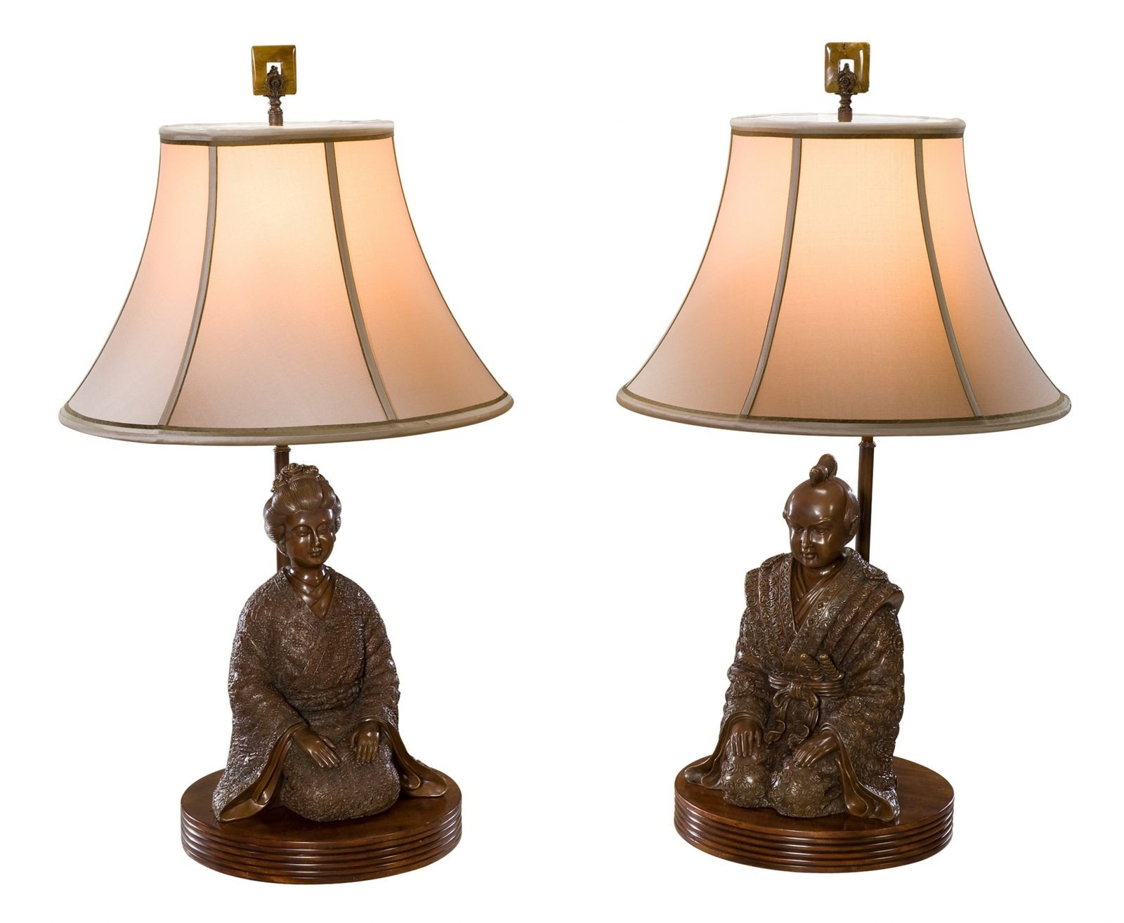A set of two brass table lamps with traditional Japanese couple