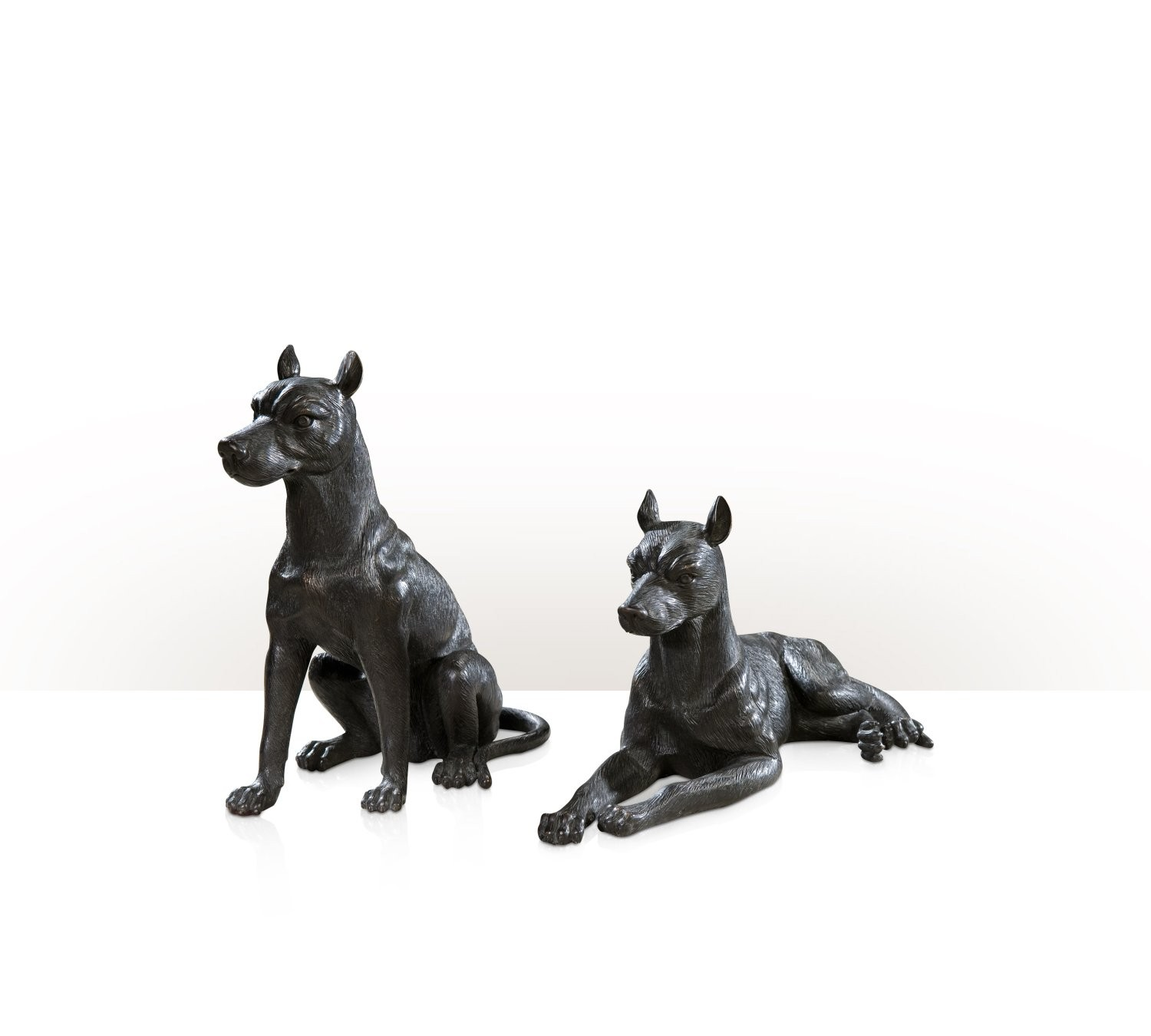 A set of two models of Doberman dogs