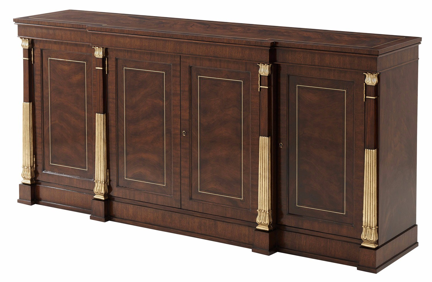 A swirl mahogany veneered and mahogany crossbanded buffet