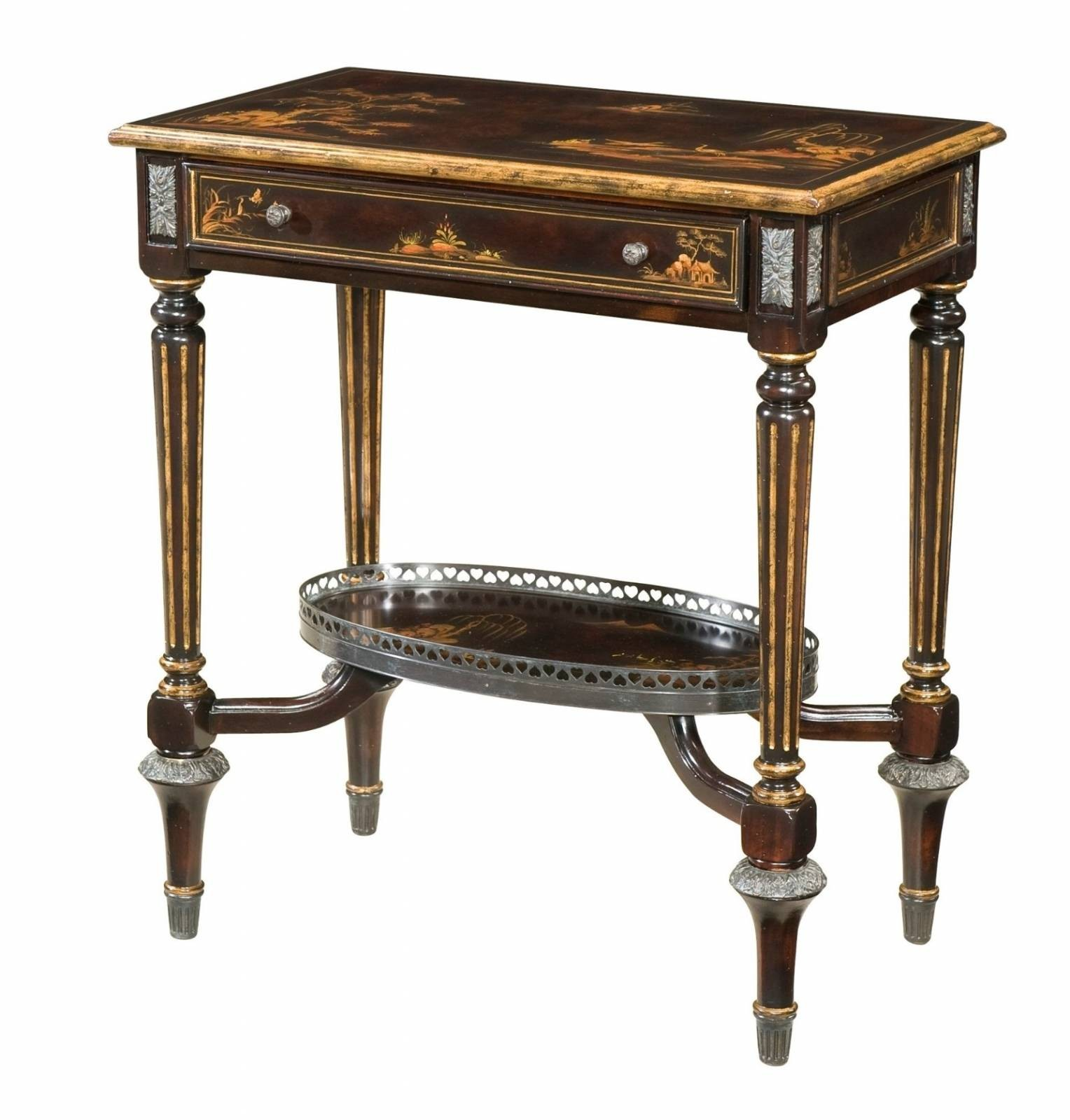 A two tier chocolate Chinoiserie side table