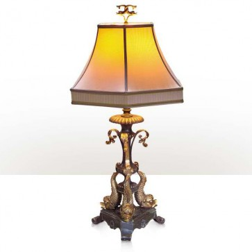 A verdigris and antiqued brass table lamp