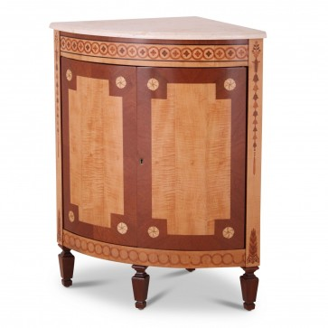 Adam style corner cabinet with marble top