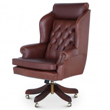 Ambassador swivel leather desk chair in mahogany hide