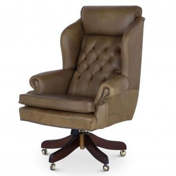 Ambassador swivel leather desk chair in olive hide