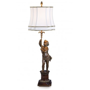 An antiqued brass table lamp
