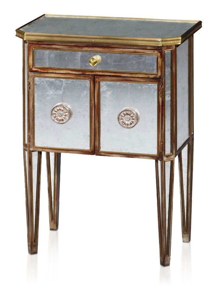 An antiqued mirror bedside cabinet bedsides from brights for Mirror bedside cabinets